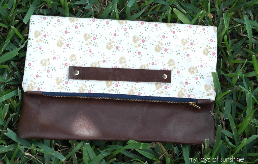 K.M. Hutton Pink White and Gold Floral Fold Over Clutch