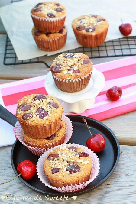 Cherry Banana Muffins with Dark Chocolate Chips {Healthy and GF} by Life Made Sweeter - 2