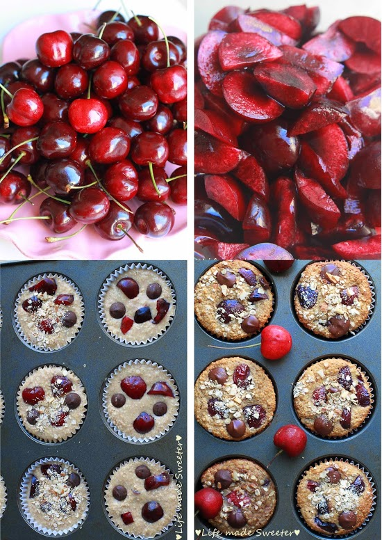 Cherry-Banana-Muffins-with-Dark-Chocolate-Chips-{Healthy-and-GF}-by-Life-Made-Sweeter-3