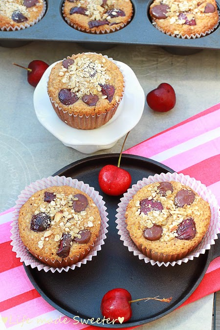 Cherry Banana Muffins with Dark Chocolate Chips {Healthy and GF} by Life Made Sweeter - 4