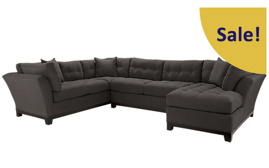 Cindy Crawford Metropolis Slate Sectional Couch