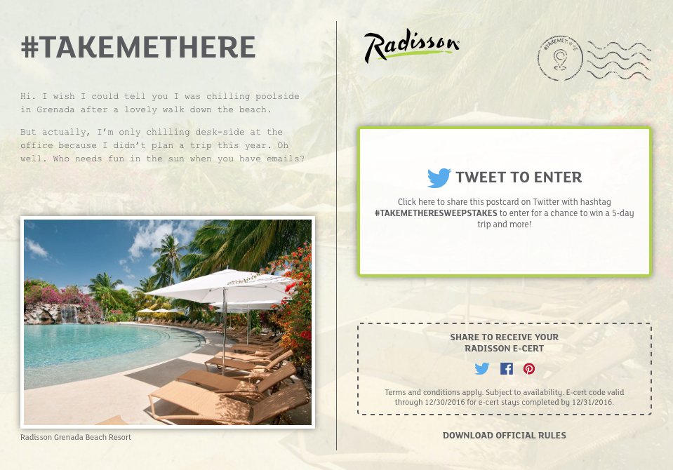 Radisson #TakeMeThere Getaway Contest
